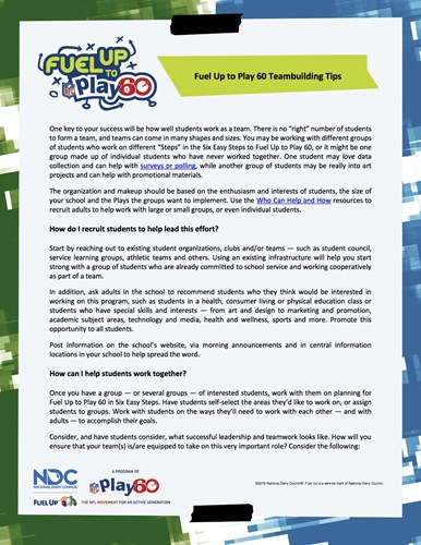 Picture of Teambuiling Tips from Fuel Up to Play 60
