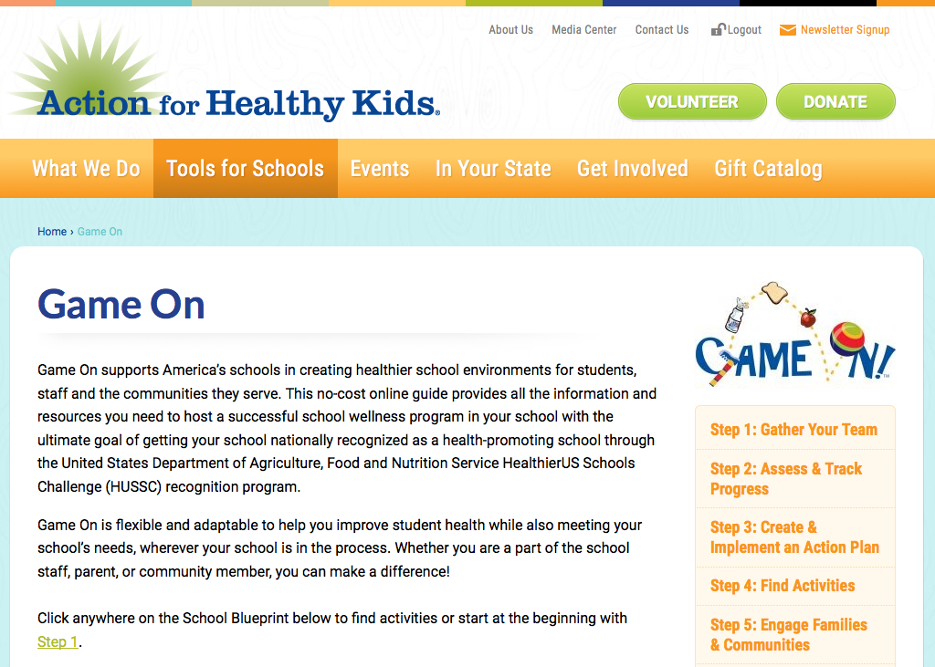 Screenshot of the Game On webpage from Action for Healthy Kids
