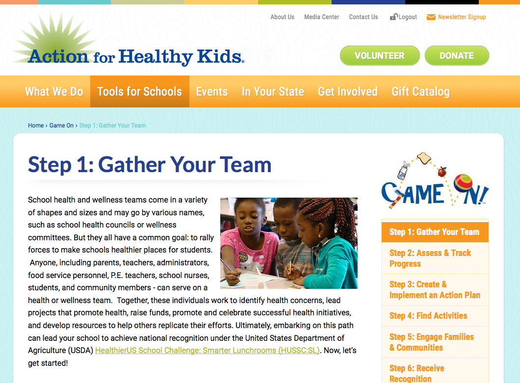 Screenshot of the Action for Healthy Kids Website on the Gather Your Team page