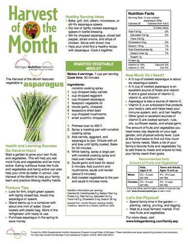 Picture of a Harvest of the Month Newsletter from the Michigan Nutrition Network