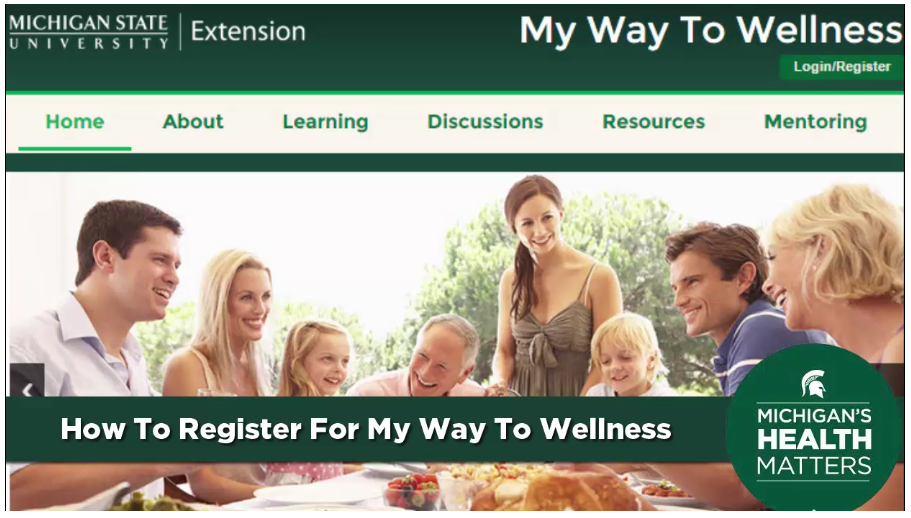 Screenshot of My Way to Wellness online nutrition class offerred by Michigan State University Extension