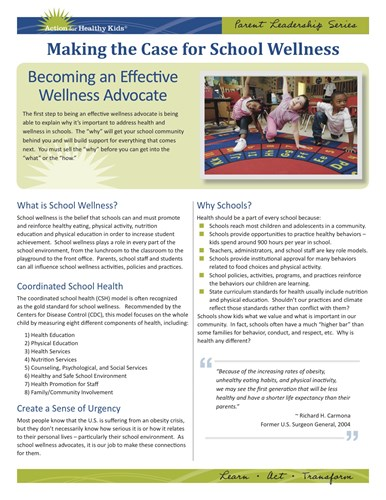 Picture of the Making the Case for School Wellness pdf from Action for Healthy Kids