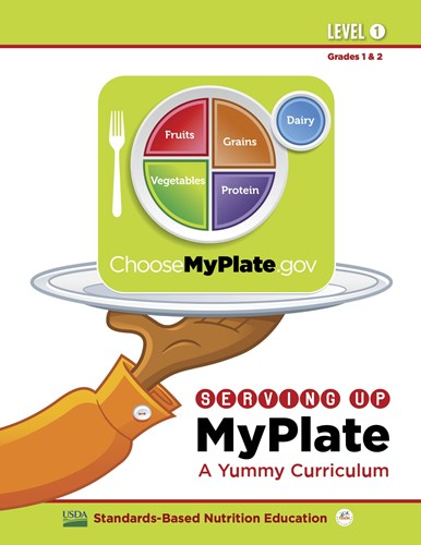 Picture of the Serving Up MyPlate curriculum. It is a hand holding a serving plate that holds the MyPlate logo.