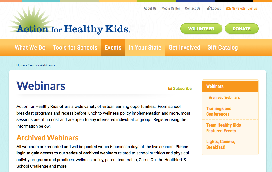 Photo of the Action for Healthy Kids Website- Webinars page
